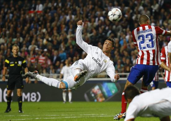 Real Madrid's Ronaldo attempts an acrobatic shot on goal during their Champions League final soccer match against Atletico Madrid at the Luz Stadium in Lisbon