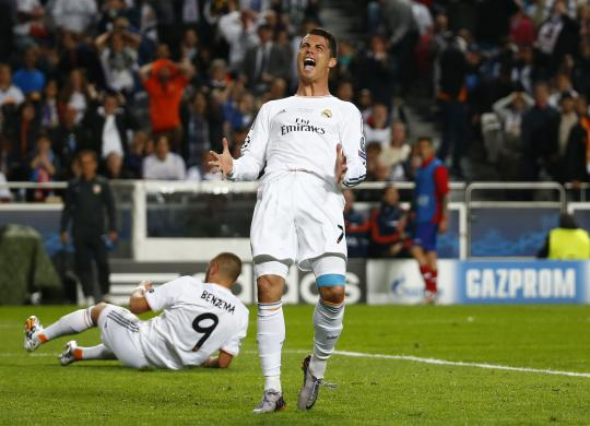 Real Madrid's Ronaldo reacts after missing a scoring opportunity during their Champions League final soccer match against Atletico Madrid at the Luz Stadium in Lisbon