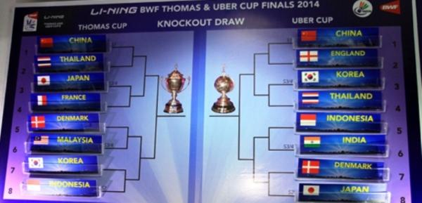 Hasil Undian Perempat final Thomas Cup 2014