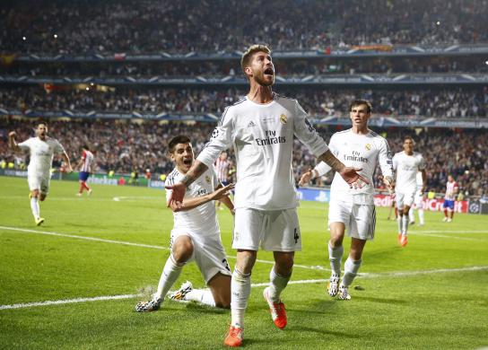 Real Madrid's Ramos celebrates after scoring a goal against Atletico Madrid during their Champions League final soccer match at the Luz Stadium in Lisbon