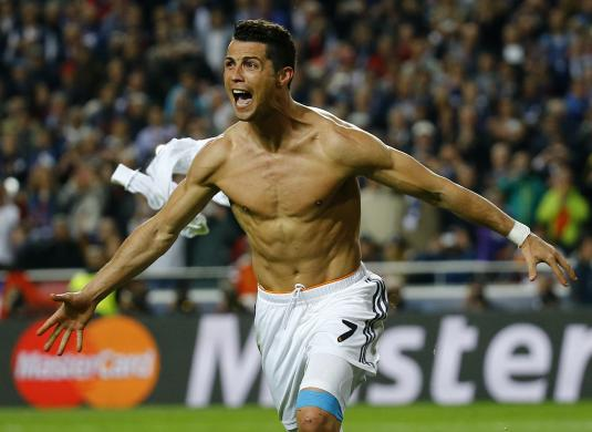 Real Madrid's Ronaldo celebrates after scoring a penalty against Atletico Madrid during their Champions League final soccer match at the Luz Stadium in Lisbon