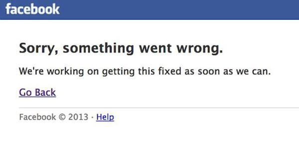 Facebook error Hari ini