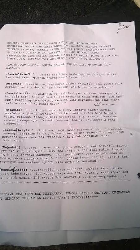 Foto Diduga Transkrip Percakapan Megawati dan Jaksa Agung tentang Jokowi dan Transjakarta