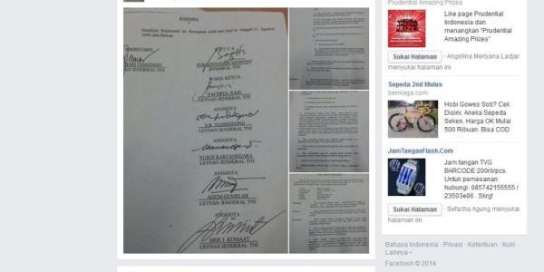 Surat pemberhentian Prabowo subianto dari ABRI yang di tanda tangani DKP