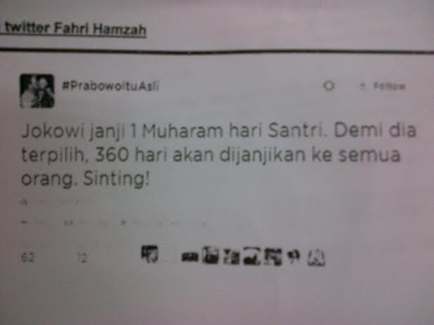 Twitt Fahri Hamzah yang menyebut jokowi sinting