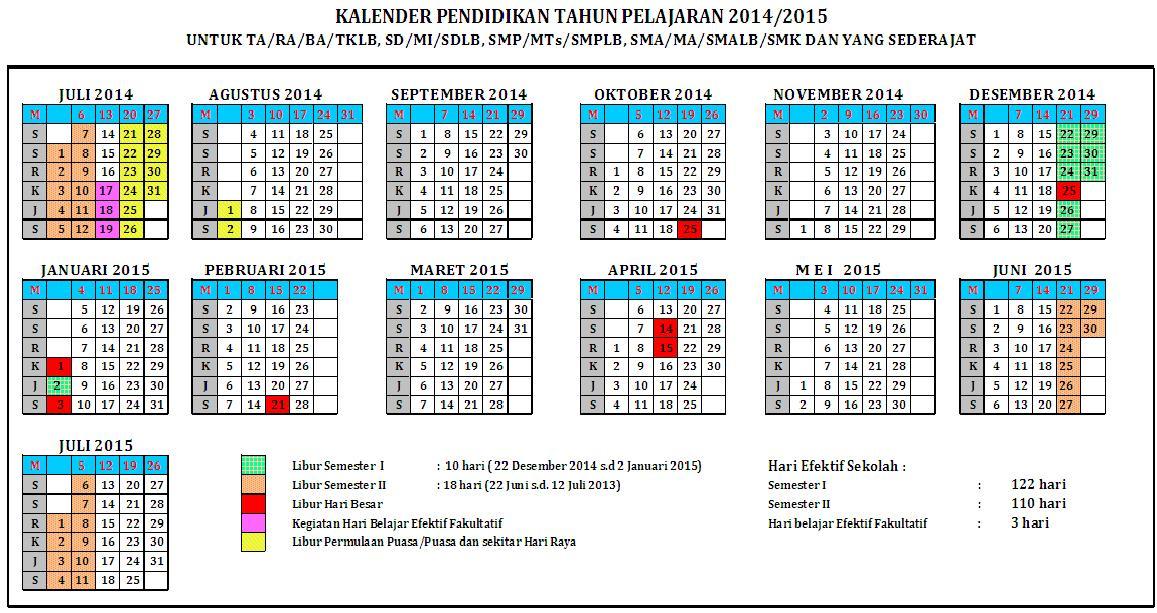 Kalender Pendidikan Tahun Ajaran 20142015