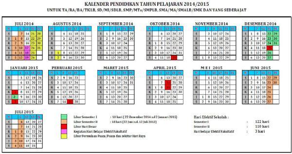 Download Kalender Pendidikan tahun pelajaran 2014-2015
