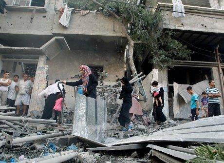 Puing Puing rumah warga palestina yang di bom israel